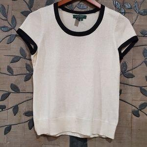 RALPH LAUREN Petite Silk Blend Top Size S